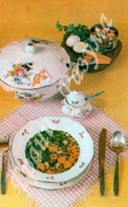 Пестрый суп из шампиньонов (первое блюдо)